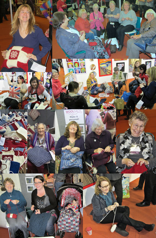 Shoppers helped to knit and crochet cushions