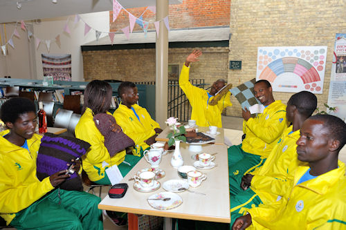 Rwandan Olympic Team with cushions
